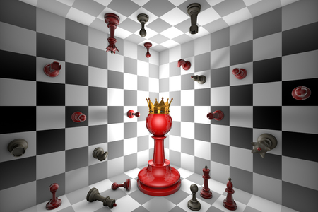 ajedrez: Big red pawn and a golden crown. Closed chess space. Many small chess.
