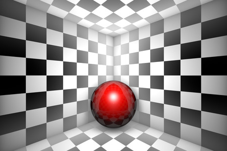 claustrophobic: Red ball in black and white square.3d image.