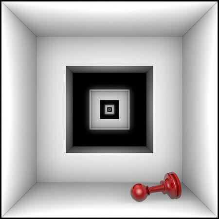 claustrophobic: Red pawn in black and white tunnel. The space and infinity.
