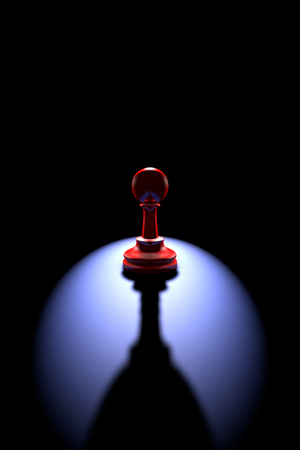shadow silhouette: Red pawn silhouette on a dark background art. Backlight and deep shadow.