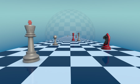 lyrical: Chess pieces on a fantastic turquoise background. Lyrical scene.  3d illustration. Available in high-resolution and several sizes to fit the needs of your project.