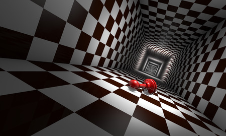 four corners: Little red pawn in the chess tunnel. The space and infinity.Available in high-resolution and several sizes to fit the needs of your project. Stock Photo