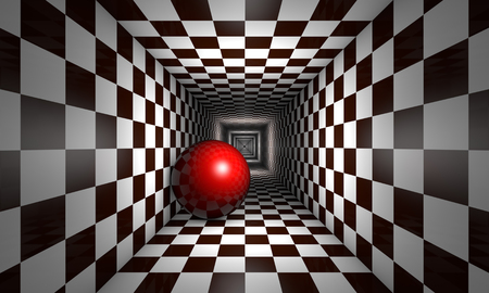claustrophobic: Red ball in the chess tunnel. The space and infinity.Available in high-resolution and several sizes to fit the needs of your project. Stock Photo