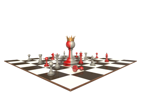 hegemony: Chess drama on a white background isolation. In the center of a two-faced king. Stock Photo
