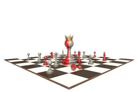 obedecer: drama de ajedrez sobre un fondo blanco aislado. En el centro de un rey de dos caras.