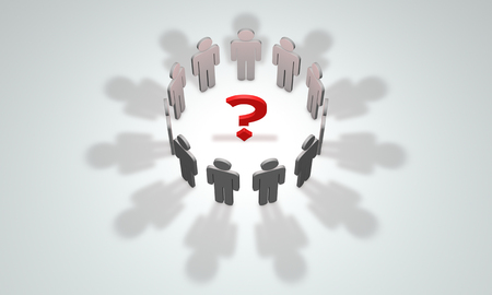 one on one meeting: Question mark and gray figures. Available in high-resolution and several sizes to fit the needs of your project. 3D illustration