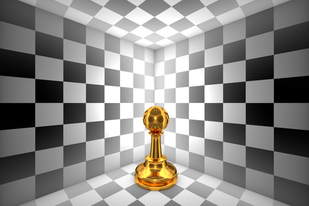 claustrophobic: Gold pawn in black and white square. 3D illustration rendering. Stock Photo