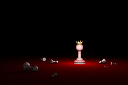 hegemony: Horizontal chess composition. Available in high-resolution and several sizes to fit the needs of your project. 3D renderi illustration. Black background layout with free text space.