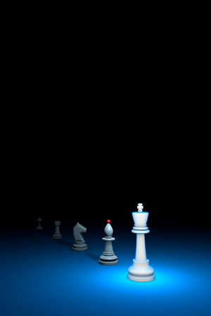 hegemony: Career growth. Vertical chess composition. Available in high-resolution and several sizes to fit the needs of your project. 3D renderi illustration. Black background layout with free text space. Stock Photo