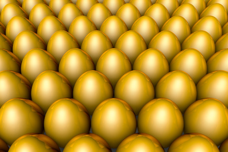 golden eggs: Golden eggs. Conceptual illustration. Available in high-resolution and several sizes to fit the needs of your project. Background layout with free text space. 3D illustration render Stock Photo