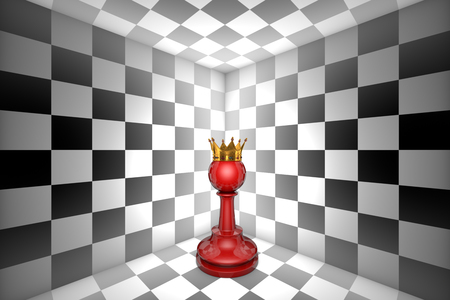 claustrophobic: Red pawn in black and white square. Gold crown. 3D illustration render. Black background layout with free text space.