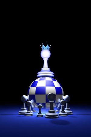outsiders: Chess composition (presidential elections). The new ruler.Available in high-resolution and several sizes to fit the needs of your project. Background layout with free text space. 3D illustration render Stock Photo