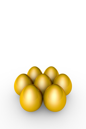 golden eggs: Golden eggs. Conceptual illustration. Available in high-resolution and several sizes to fit the needs of your project. Background layout with free text space. Isolated over white. 3D illustration render Stock Photo