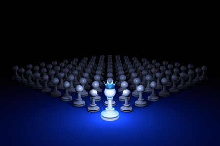 hegemony: Chess composition. Standing Out from the Crowd. Available in high-resolution and several sizes to fit the needs of your project. 3D rendering illustration. Black background layout with free text space.