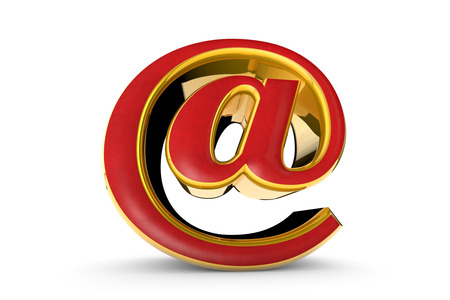 over white: E-mail red&gold symbol. Isolated over white. Available in high-resolution and several sizes to fit the needs of your project. 3D illustration rendering. Stock Photo