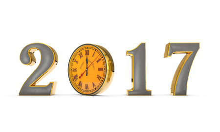 time flies: Christmas symbol and metaphor (the clock). Happy New Year 2017. Black background. 3D illustration