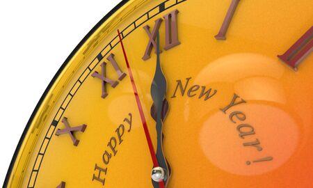 12 o'clock: Christmas symbol and metaphor (the orange clock). Happy New Year. Black background. 3D illustration