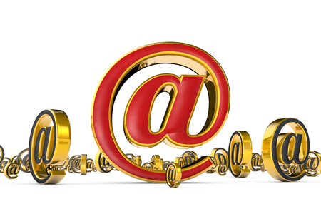E-mail red & gold symbol (@). A lot of spam (email gray symbols). Isolated over white. Available in high-resolution and several sizes to fit the needs of your project. 3D illustration rendering. Stock Photo
