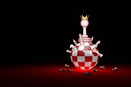 estereotipo: Composición del ajedrez. Grandes cambios. La nueva regla. Disponible en alta resolución y varios tamaños para adaptarse a las necesidades de su proyecto. Disposición del fondo con el espacio libre del texto. Ilustración 3D render