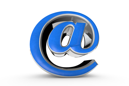 E-mail blue symbol. Isolated over white. Available in high-resolution and several sizes to fit the needs of your project. 3D illustration rendering. White background.
