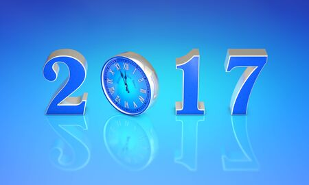 12 o'clock: Christmas symbol (the clock). New Year 2017. Blue art background. 3D rendering. Available in high-resolution and several sizes to fit the needs of your project.