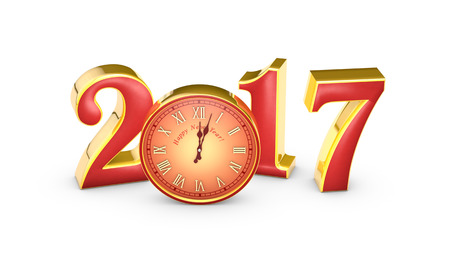 12 o'clock: Christmas symbol and metaphor (the clock). Happy New Year 2017. Isolated white background. Available in high-resolution and several sizes to fit the needs of your project. 3D illustration rendering.