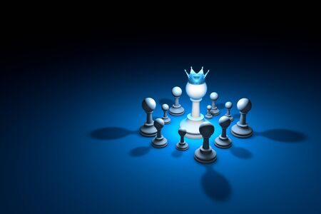 hegemony: Great authority. Leader. Chess composition. Available in high-resolution and several sizes to fit the needs of your project. Background layout with free text space. 3D illustration render