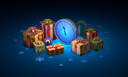 Beautiful christmas gifts, clock. Available in high-resolution and several sizes to fit the needs of your project. 3D illustration rendering. Stock Photo
