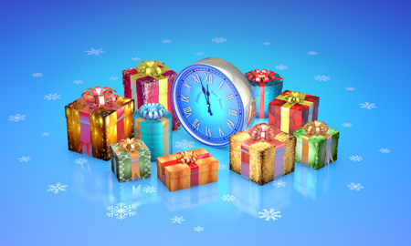 date night: Beautiful christmas gifts, clock. Available in high-resolution and several sizes to fit the needs of your project. 3D illustration rendering. Stock Photo