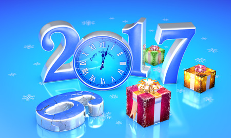 New Year. 2017. Beautiful christmas gifts, clock. The destroyed number six. Available in high-resolution and several sizes to fit the needs of your project. 3D illustration rendering.