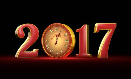 New Year 2017. Christmas. Red and gold figures, midnight.  Fabulous clock. Available in high resolution and several sizes to fit the needs of your project. 3D illustration, rendering.