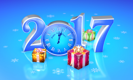 New Year. 2017. Beautiful christmas gifts, clock. Available in high-resolution and several sizes to fit the needs of your project. 3D illustration rendering. Stock Photo