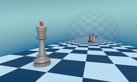 Chess pieces on a fantastic turquoise background. Lyrical scene. 3d illustration. Available in high-resolution and several sizes to fit the needs of your project.