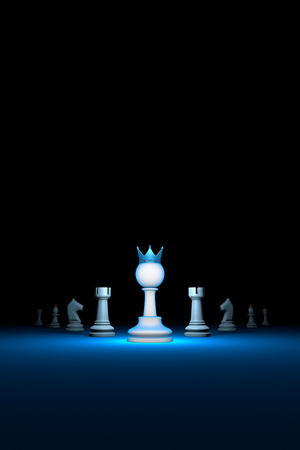 Prompt career. Horizontal chess composition. Standing Out from the Crowd. Available in high-resolution and several sizes to fit the needs of your project. 3D renderi illustration. Black background layout with free text space.  Stock Photo