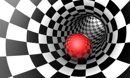 Predetermination. Red ball in a chess tunnel (concept image). The space and time. 3D illustration. Available in high-resolution and several sizes to fit the needs of your project. If you buy this image, I will be very grateful to you!