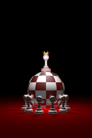 Chess composition (presidential elections). Monarchy. Power without oppositions. Available in high-resolution and several sizes to fit the needs of your project. Background layout with free text space. 3D illustration render Stock Photo