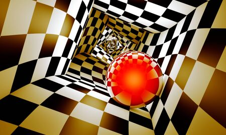 Geometric combination. Red ball in a chess tunnel (concept image). The space and time. 3D illustration. Available in high-resolution and several sizes to fit the needs of your project. If you buy this image, I will be very grateful to you!