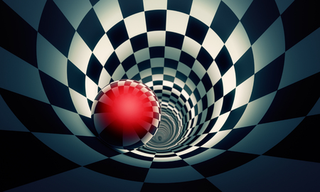 Perspective and predetermination. Red ball in a chess tunnel (concept image). The space and time. 3D illustration. Available in high-resolution and several sizes to fit the needs of your project.If you buy this image, I will be very grateful to you!