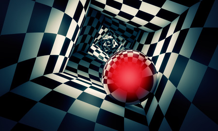 Predetermination. Red ball in a chess tunnel (concept image). The space and time. 3D illustration.