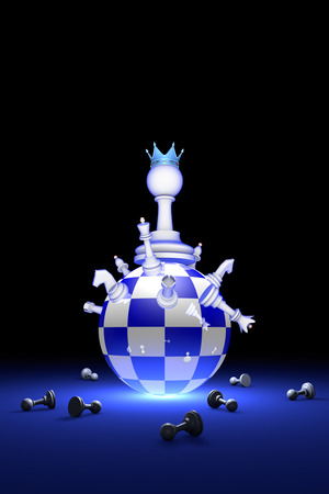 Chess composition. Big changes. The new ruler.Available to your project. Background layout with free text space. 3D illustration render Stock Photo