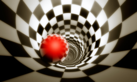 Illusion of freedom (predeterminmation). Red ball in a chess tunnel (concept image). The space and time. 3D illustration. Stock Photo