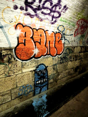 Photo of various graffiti in the tunnel