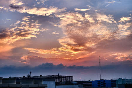 industrial park: Sunset sky on industrial park