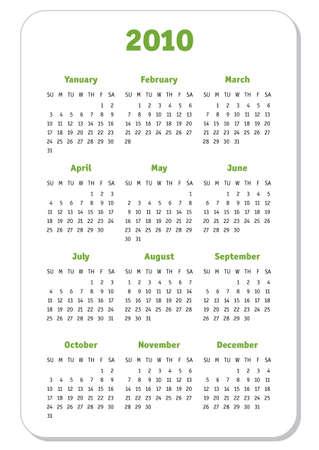 Calendar 2010 year.Vector