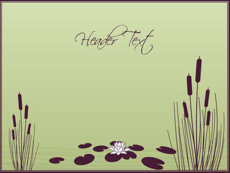 marsh plant: Lily and Cattails background Illustration