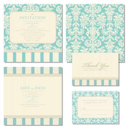 inbjudan: Set bröllop inbjudningskort med vintage bakgrund konstverk