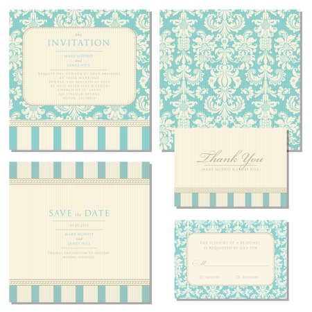 and invites: Set of wedding invitations and announcements with vintage background artwork