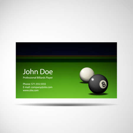 Business Card Professional Billiards Player Illustration