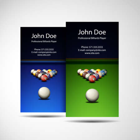 8 ball billiards: Business Card Professional Billiards Player Illustration