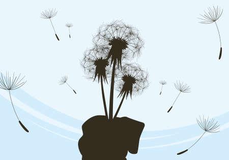 Bouquet of dandelions in hand  Wind  Ease Vector